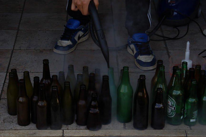pulire bottiglie birra con vaporetto